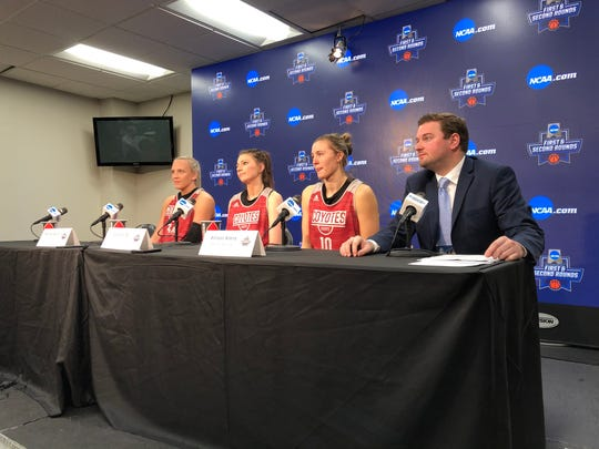South Dakota players (L-R) Hannah Sjerven, Ciara Duffy and Allison Arens address the media ahead of Thursday's practice session in Starkville, Miss. on March 21, 2019.