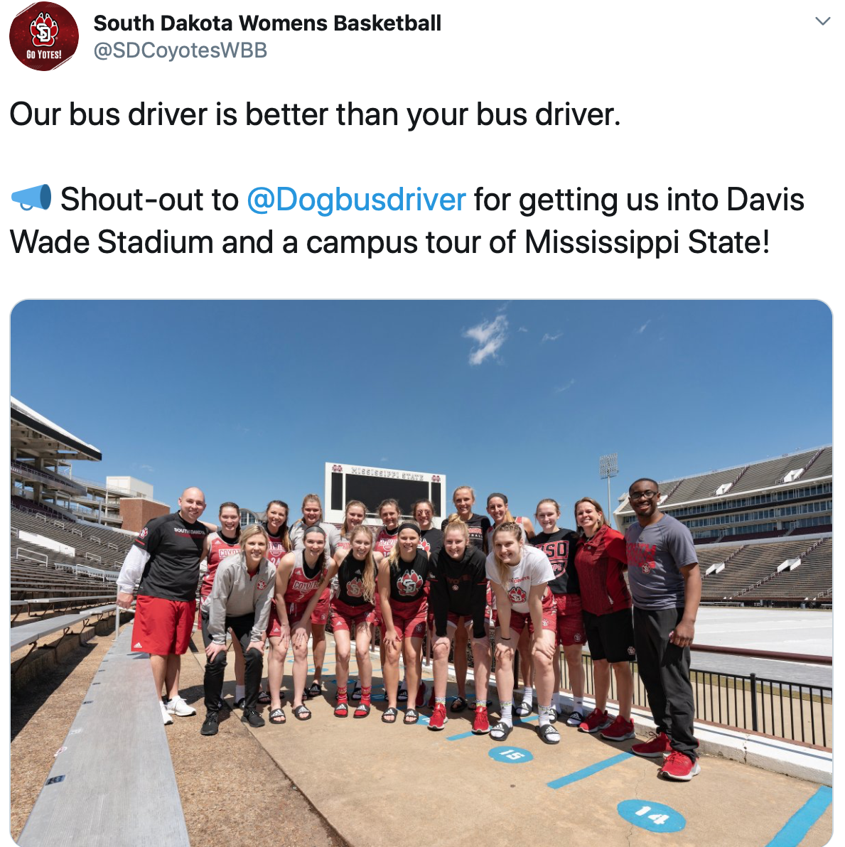 The South Dakota women's basketball team poses for a photo at Davis Wade Stadium in Starkville, Miss. on Thurs., March 21, 2019.