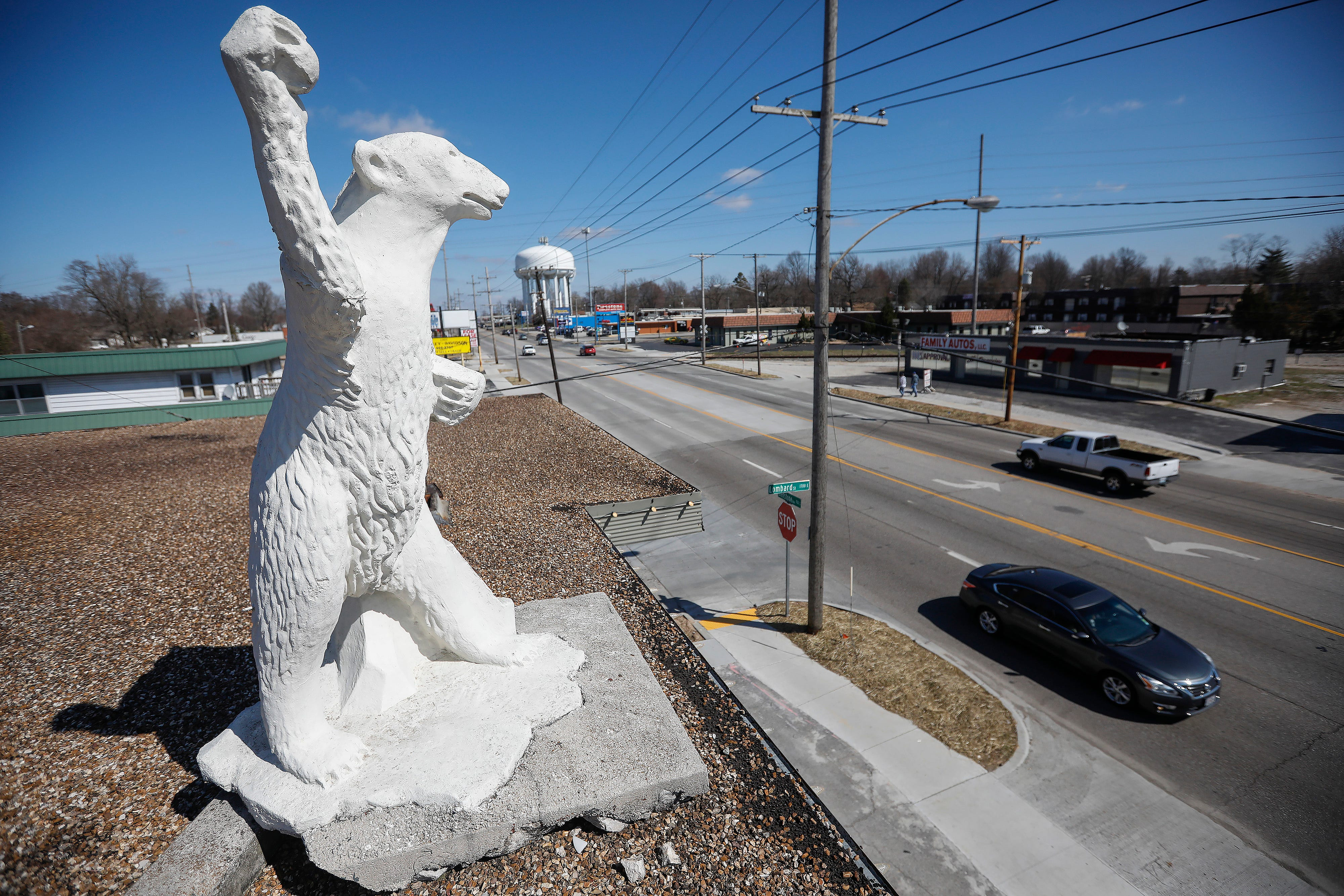 A snowball-throwing bear looks down over Glenstone Avenue from the roof of McDaniel Furs.