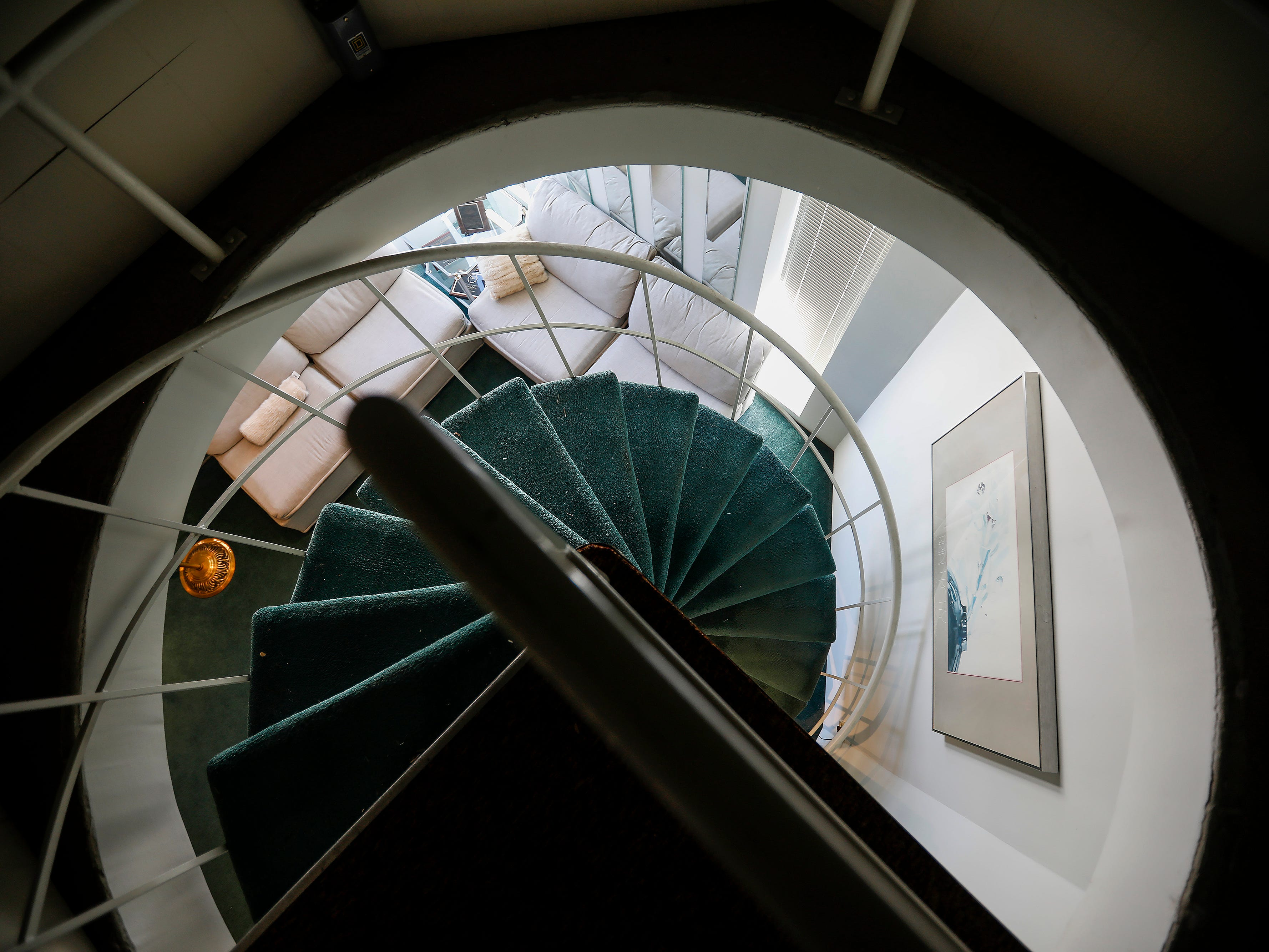 Looking down the spiral staircase at McDaniel Furs, located at 901 S. Glenstone Ave.