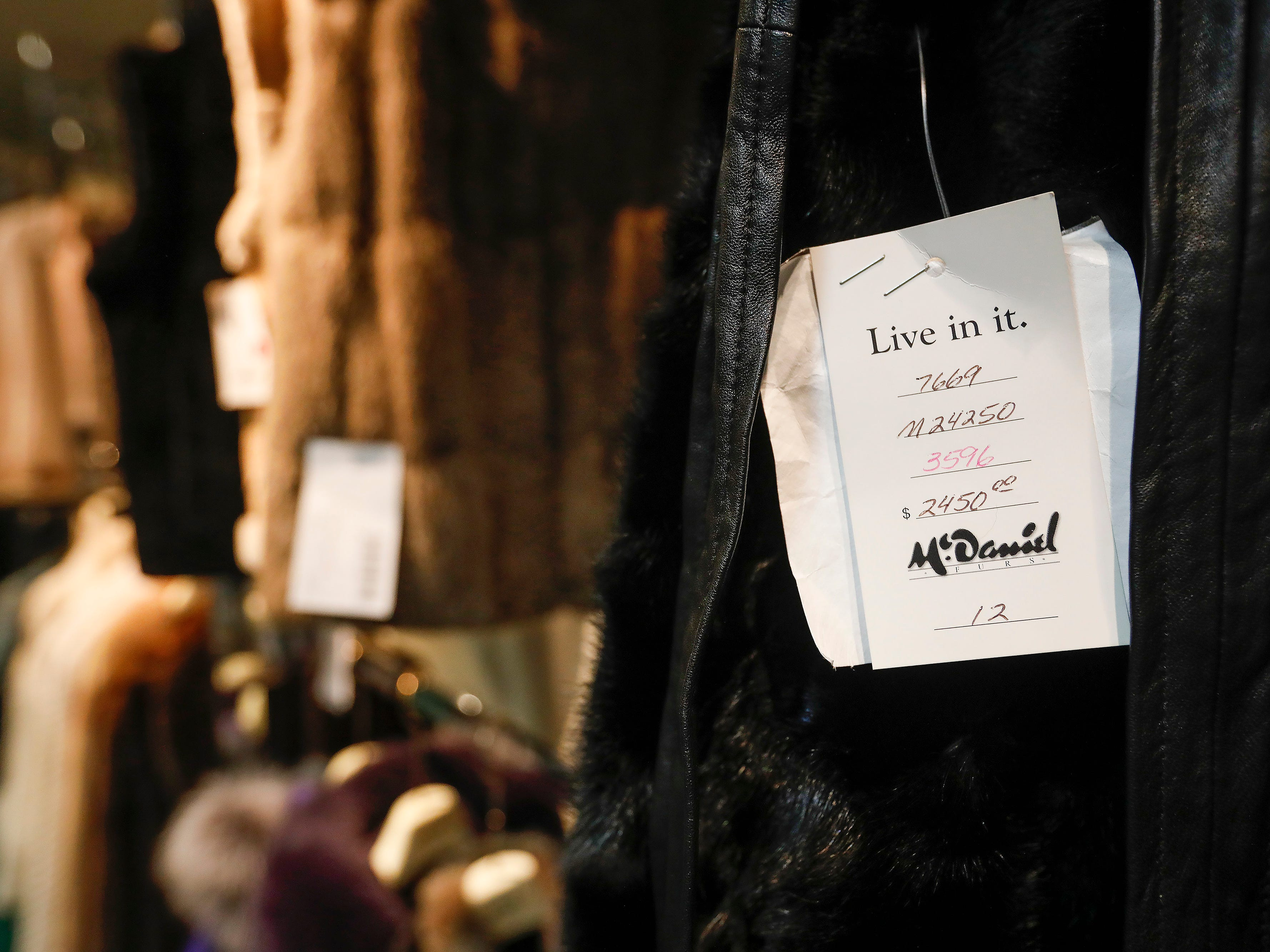 A price tag on the sleeve of a coat for sale at McDaniel Furs, located at 901 S. Glenstone Ave.