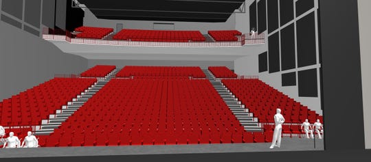 An artist rendering shows one option for the interior of the proposed performing arts center at Nixa High School.