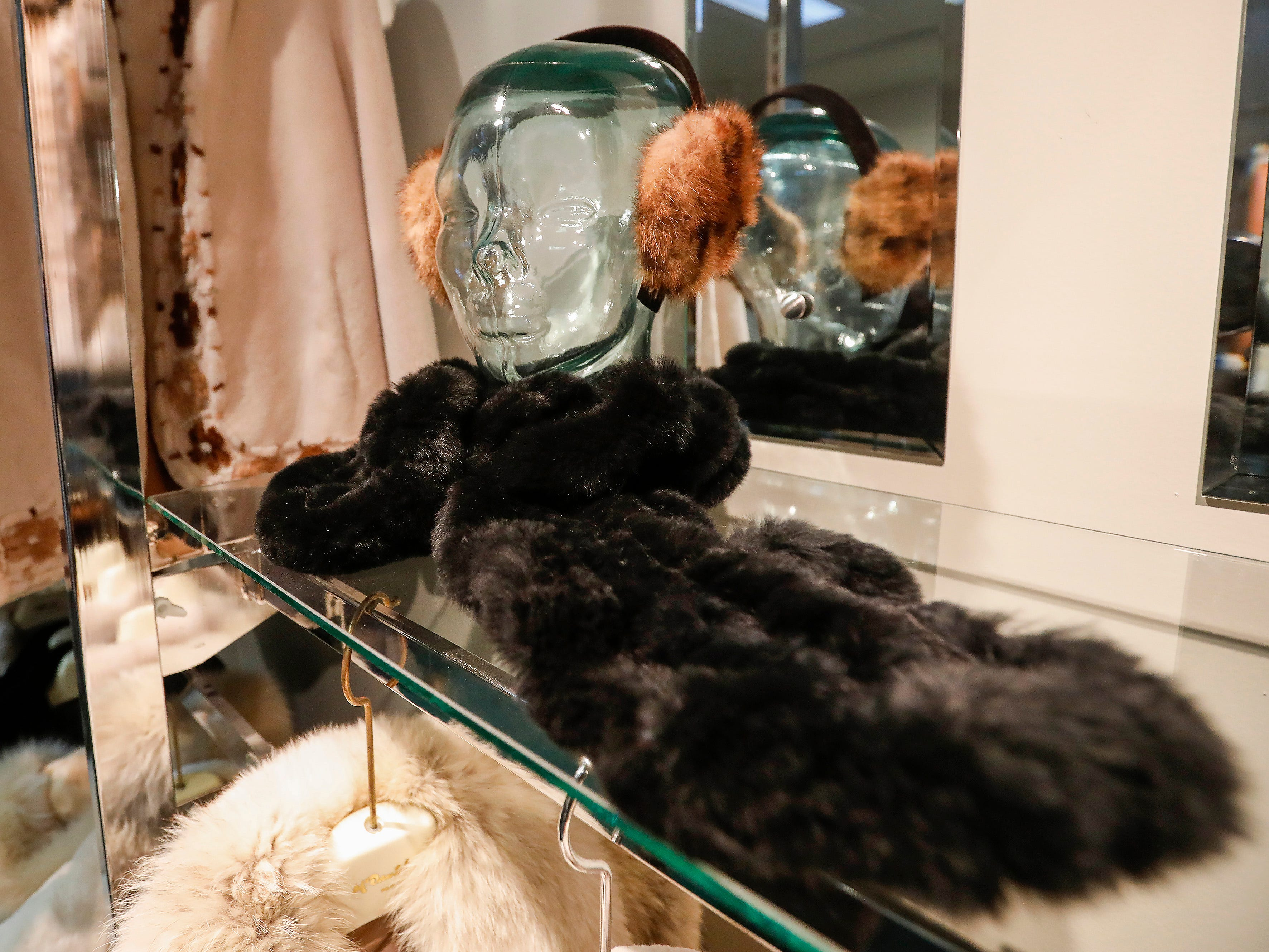 A look at some earmuffs and a scarf for sale at McDaniel Furs, located at 901 S. Glenstone Ave.