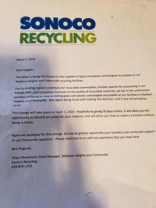 A letter from Sonoco Recycling sent to suppliers who utilize the Fishersville facility. Sonoco alerted those that the facility would no longer accept plastic or glass.