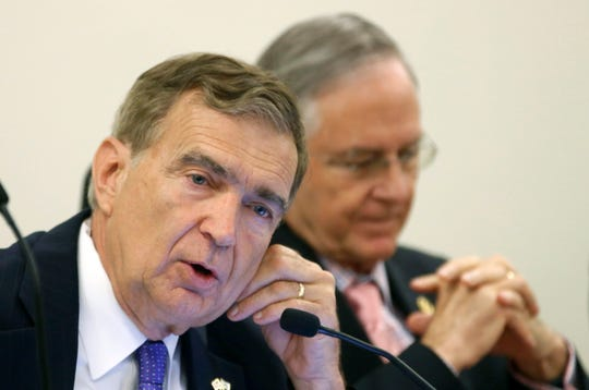 Co-chairman of the Senate Finance committee, State Sen. Emmett Hanger, R-Augusta, left, speaks during a meeting of the Senate Finance Committee in this file photo.