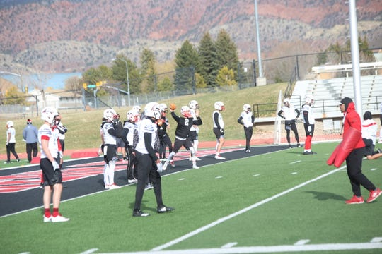 Southern Utah University payers participate in spring practice in Cedar City on Wednesday, March 20, 2019.