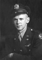 This 1945 photo provided by the Utah National Guard shows Army Air Forces 2nd Lt. Lynn W. Hadfield. The remains of Hadfield, a World War II pilot shot down in Germany, have arrived back in his home state of Utah, where they are expected to be buried. Hadfield's remains are set to be buried Thursday, March 21, 2019, 74 years to the day of Hadfield's crash, the Salt Lake Tribune reported on Tuesday. Hadfield, from Salt Lake City, was piloting a bomber plane from France to Germany just months before the end of World War II when it was struck by anti-aircraft fire and crashed somewhere near the German city of Dulmen. (Utah National Guard via AP)