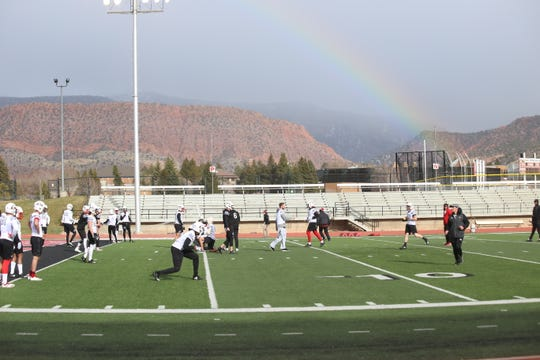 A rainbow flies over SUU's first spring practice on March 20 in Cedar City.