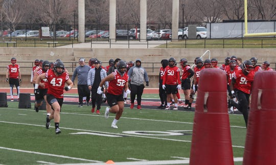 Southern Utah University players participate in spring practice in Cedar City on March 20, 2019.