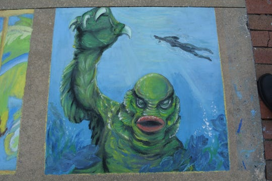 The Creature from the Black Lagoon reimagined in chalk at last year's Chalk Walk.