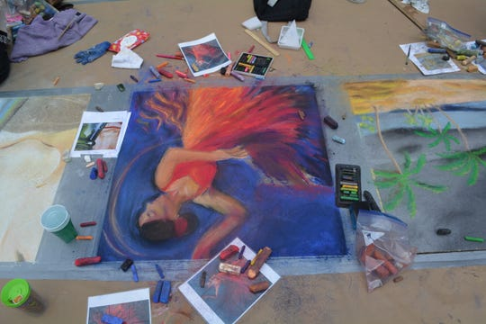Chalk Walk art from last year's event promoting arts at the Capitol.