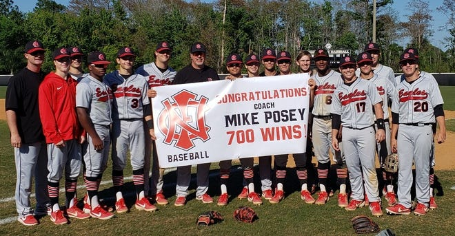 North Florida Christian baseball coach Mike Posey, in his 36th season, reached 700 career wins with a 13-3 win over Tennessee's Ravenwood High during a tournament in Jacksonville.