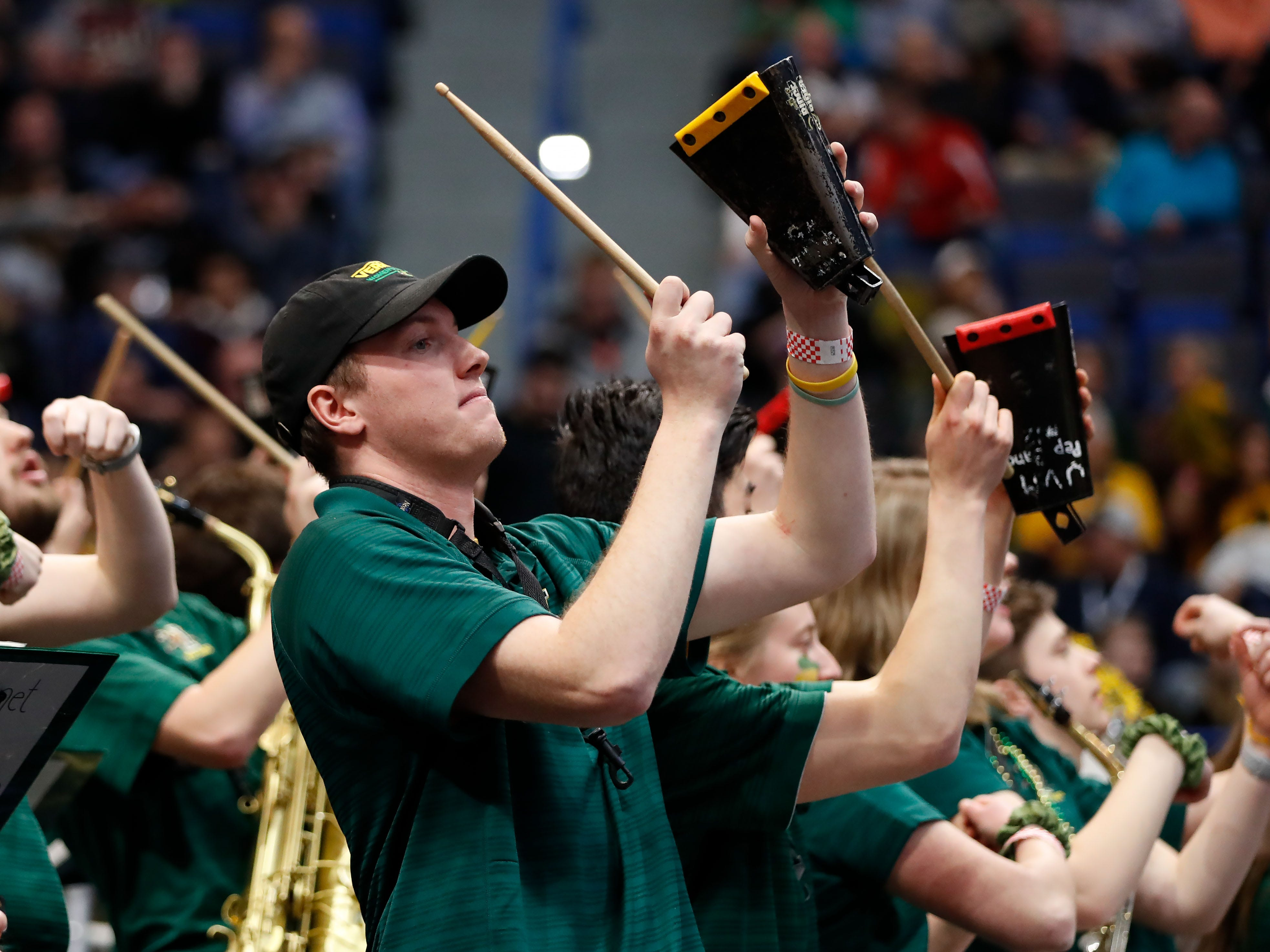 Mar 21, 2019; Hartford, CT, USA; The Vermont Catamounts band cheers during the first half of a game against the Florida State Seminoles in the first round of the 2019 NCAA Tournament at XL Center. Mandatory Credit: David Butler II-USA TODAY Sports