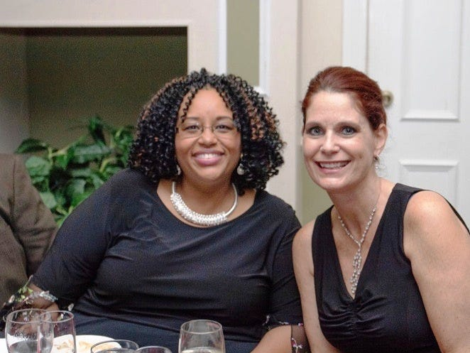 "Dr. Wilhelmina Lewis-Lyons, left, and Jennifer Ferrari at the ""Lucky In Love"" Valentine's Day gala."
