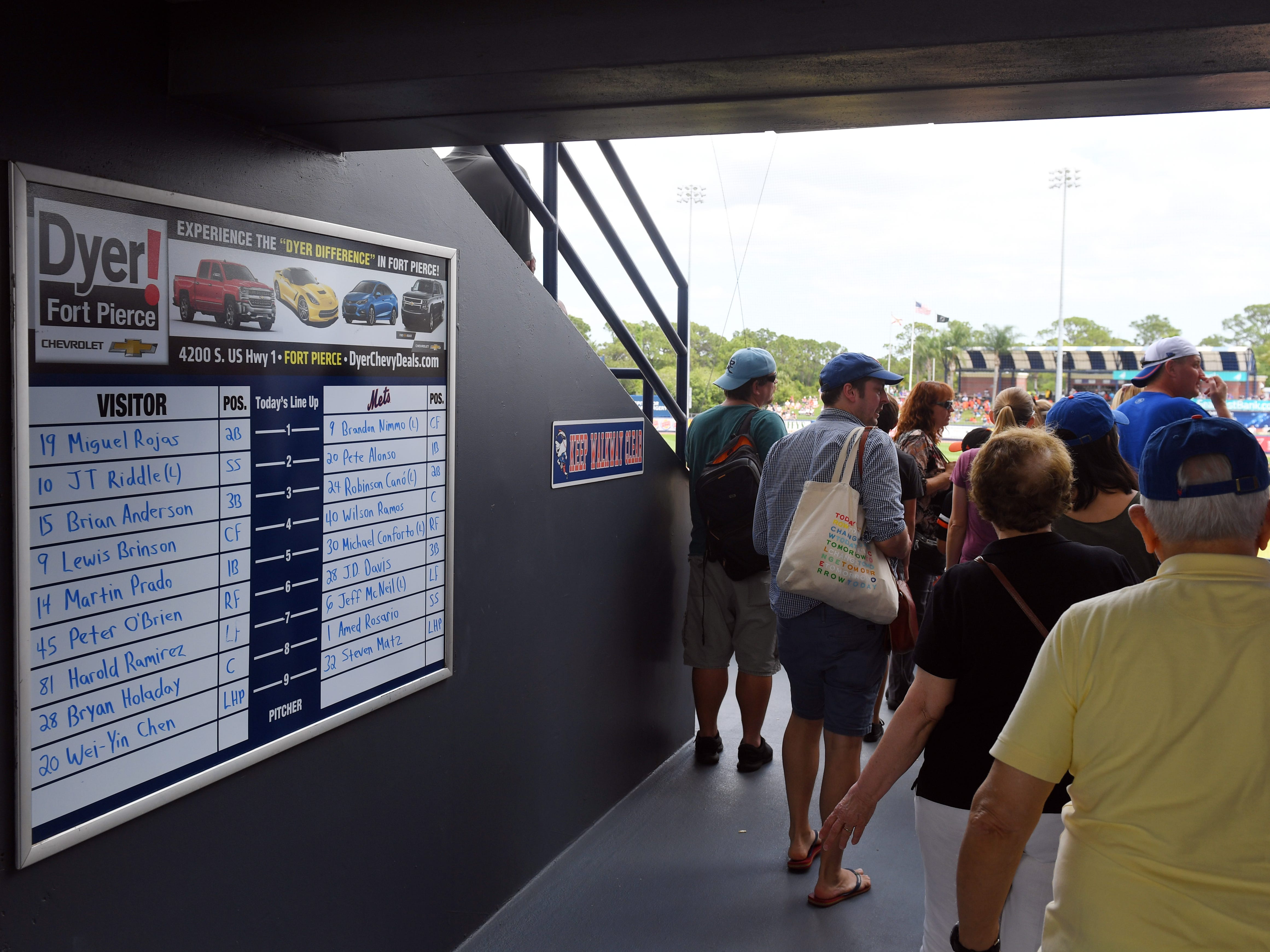 The New York Mets hosted the Miami Marlins on Thursday, March 21, 2019 for a spring training game at First Data Field in Port St. Lucie. Mets fans will only have two more chances, Friday at 1:10 p.m. and Sunday at 12:10 p.m., to see the Mets at First Data Field this week before the regular season begins.