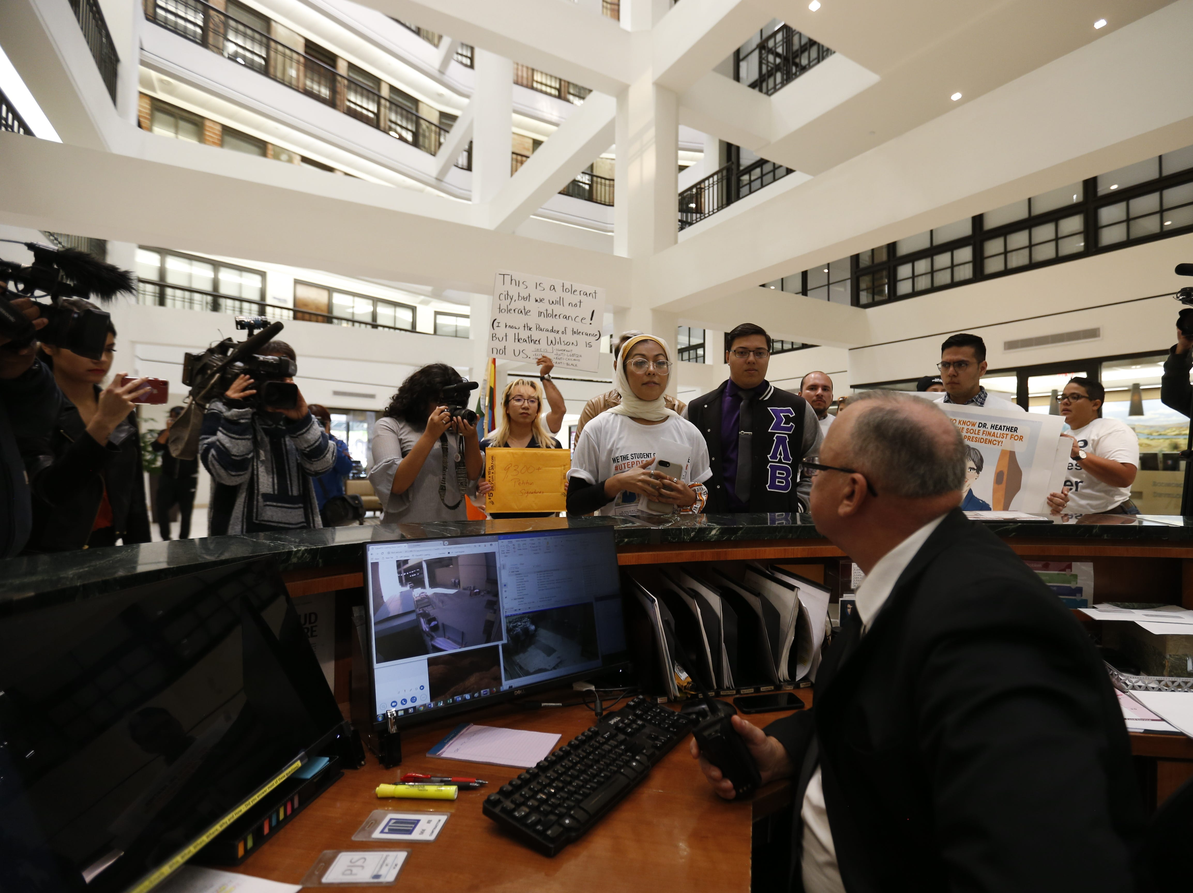 A group of UTEP students and community groups were unable to deliver over 9,000 signatures to UT board of regents Vice-chairman Paul Foster's office in the Downtown Centre building.