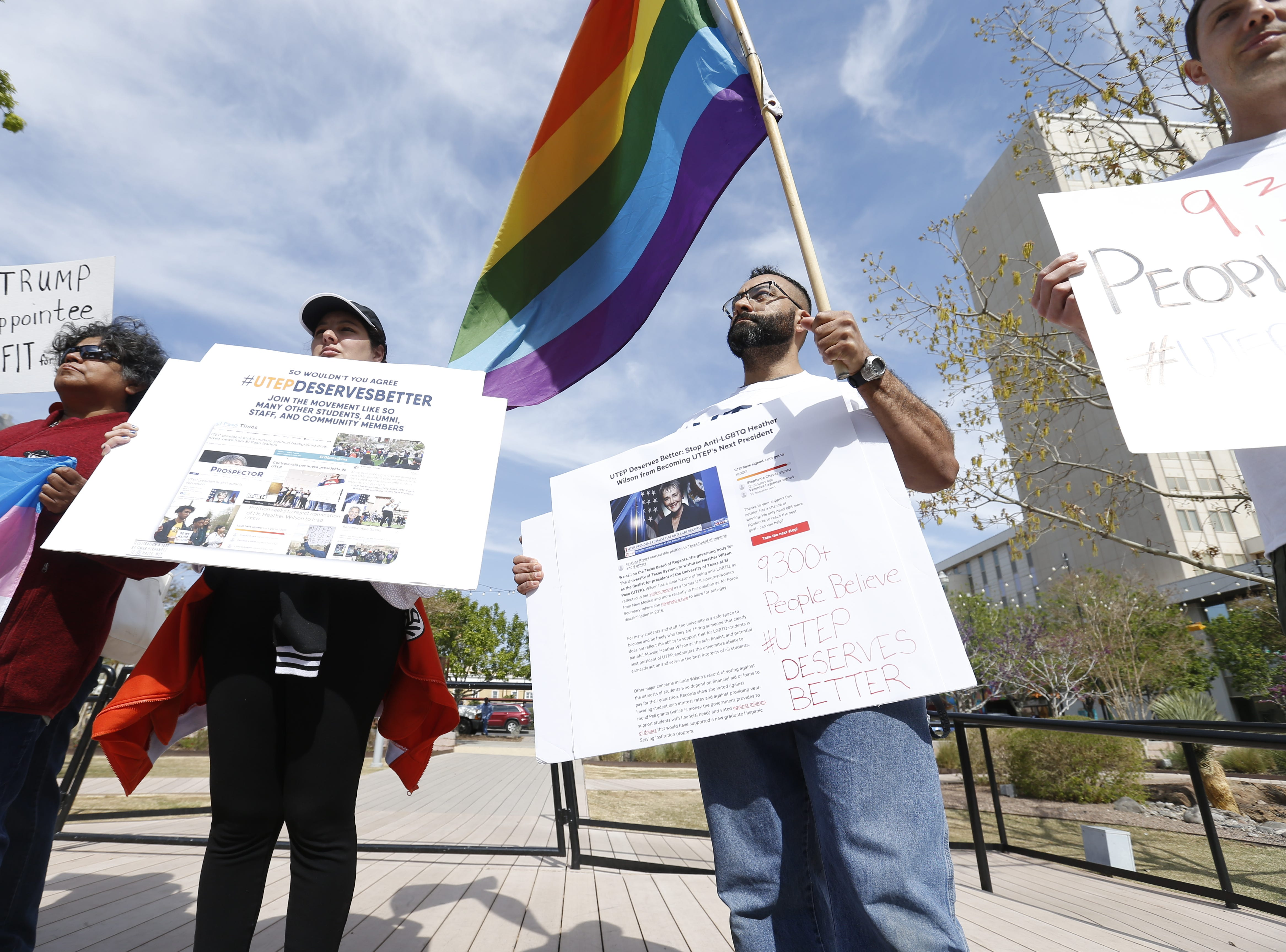 A group of UTEP students and community groups collected over 9,000 signatures calling for Paul Foster, the vice-chairman of the UT board of regents, to stop Heather Wilson from becoming the next UTEP president.