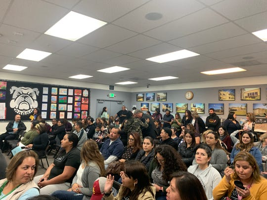 A packed room waits in the Oxnard School District board room Wednesday to ask the board to not eliminate some classified positions and reduce the hours of others. The board approve the layoff and cuts in hours.