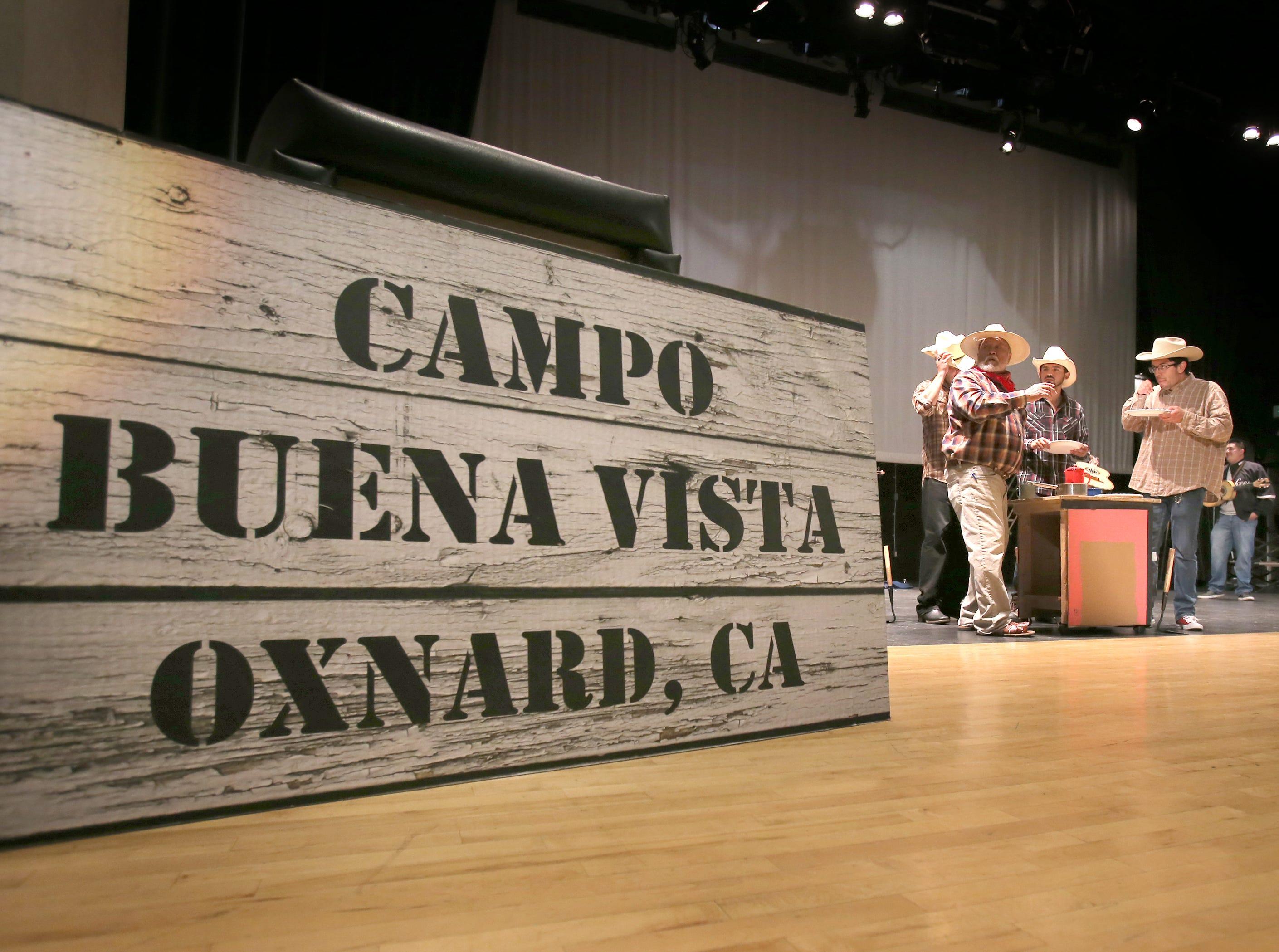 "Daniel Smithson, from right, Jonathan Lopez, Jess Ramirez and Fernando Garcia perform one of their scenes during Wednesday's rehearsal for the mariachi opera ""El Bracero."""