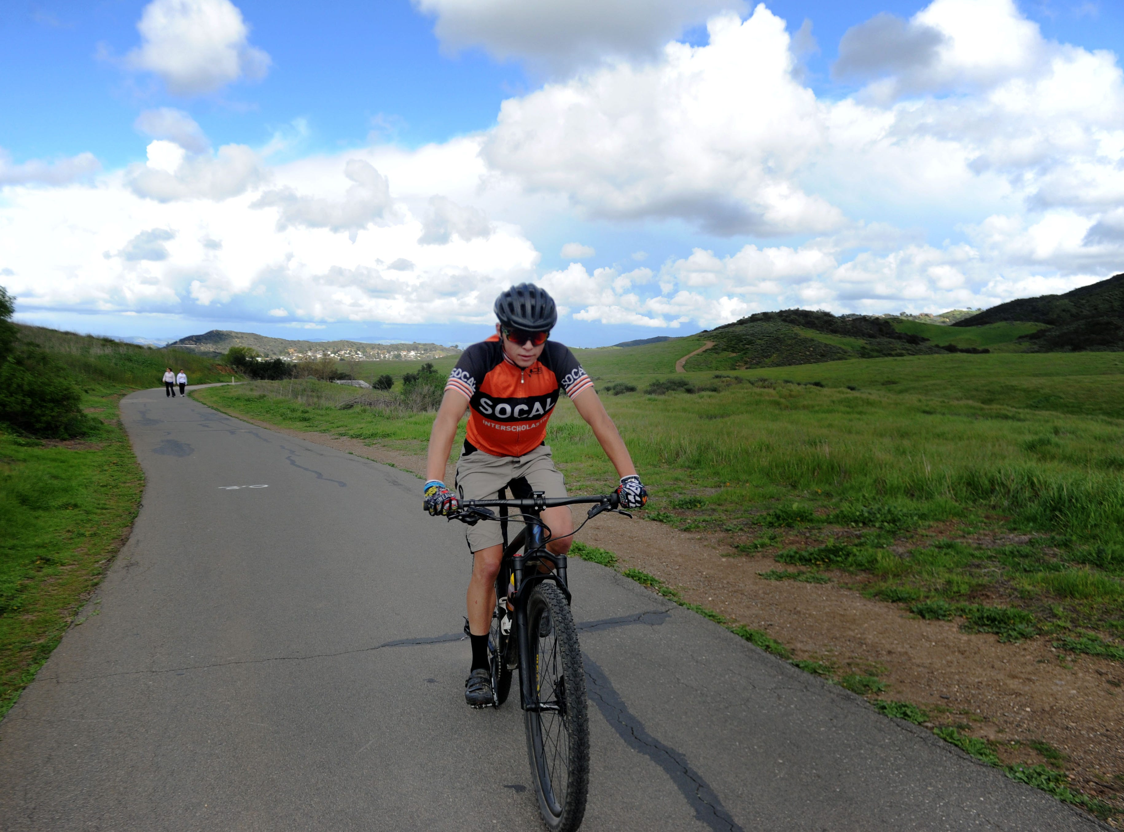 Chance Lowery bikes from Rancho Sierra Vista to Point Mugu State Park on a cloudy Wednesday afternoon. A new report ranks Ventura County as the ninth healthiest county in California, partly because of its access to physical activity.