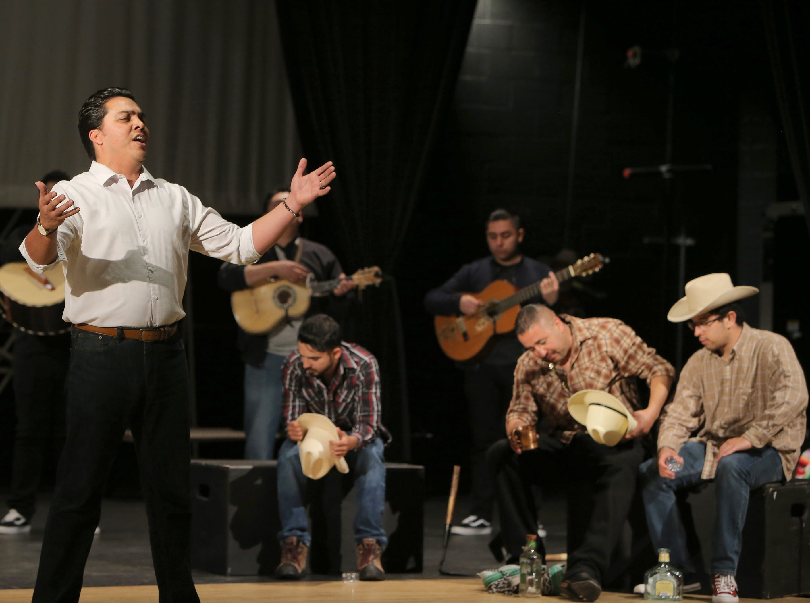 """Mariachi Aguilas De Oxnard's Juan Carlos Ozuna performs one of powerful songs for the mariachi opera """"El Bracero"""" during Wednesday's rehearsals. The performance will be at Pacifica High in Oxnard on Saturday."""