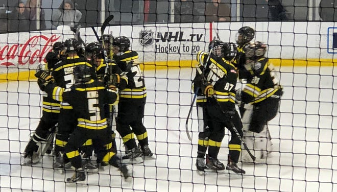 The Newbury Park JV hockey team celebrates a win during its run to the Los Angeles Kings High School Hockey League championship game, to be played Saturday at Staples Center.
