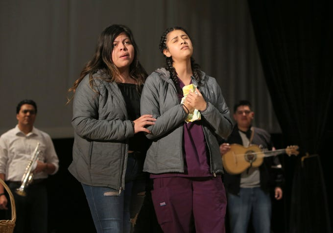 """Patty Soria, left, and Jeanette Mora sing one of their songs during Wednesday's rehearsals for the upcoming mariachi opera """"El Bracero,"""" which they will perform at Oxnard's Pacifica High on Saturday."""