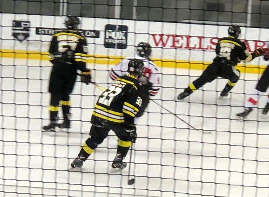 Derek Drews, the team captain and a senior at Oaks Christian School, has been one of the leaders for the Newbury Park JV hockey team.