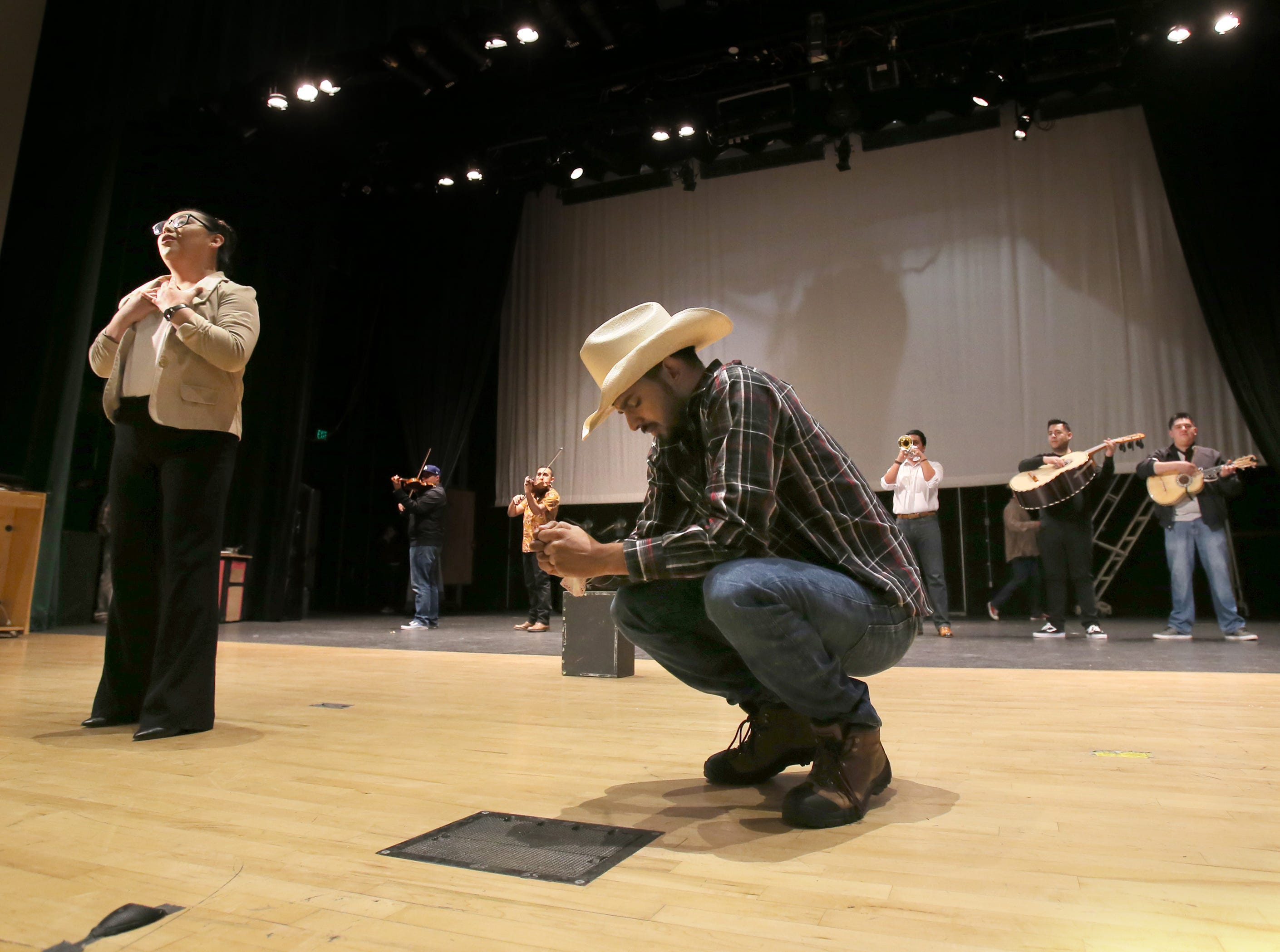 """Mariachi Aguilas De Oxnard's Alde Gonzalez performs one of the powerful songs from the mariachi opera """"El Bracero"""" with Jonathan Lopez during Wednesday's rehearsal. Lopez, who is from Ensenada, Mexico, plays the lead character Noe. The performance will be at Pacifica High in Oxnard on Saturday."""