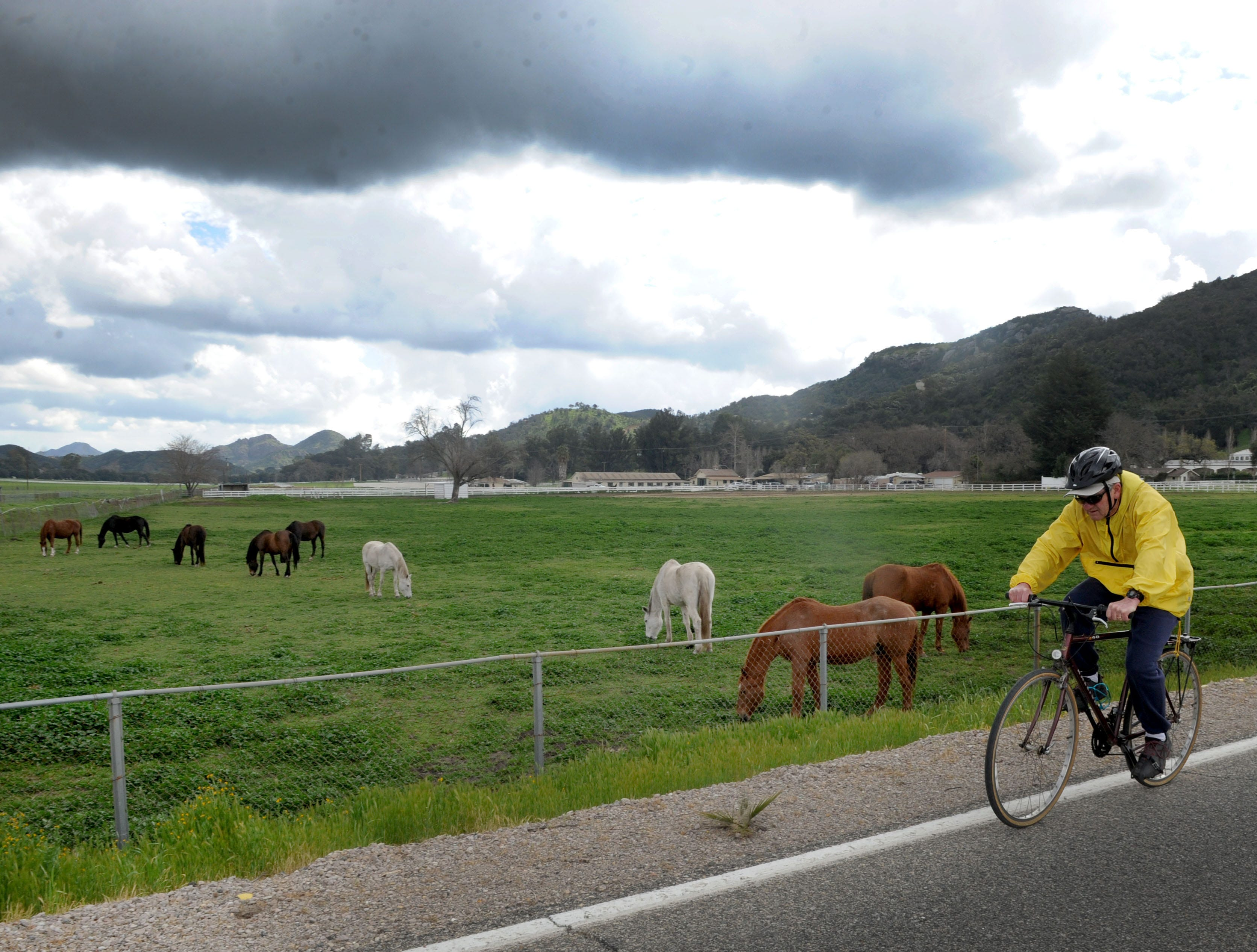 Dan Lies, 66, gets his exercise in the morning on Potrero Road by Hidden Valley. A new report ranks Ventura County as the ninth healthiest county in California, partly because of its access to physical activity.