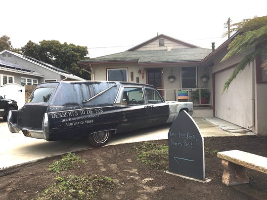 You can't miss the location of Bakewell House, a pop-up bakery open Friday mornings in Ventura: Just look for the Desserts to Die For hearse parked out front.