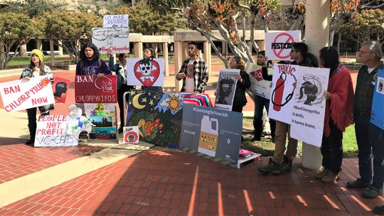 Local agricultural workers speak at a news conference at the Ventura County Government Center on Thursday to discuss the county's pesticide approval process. A new report alleges that that process may have violated state law.