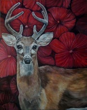 """Paintings by Terri Amig, including """"Amour,"""" will be featured in """"furfinsandfeathers,"""" Gallery 50's April exhibit."""