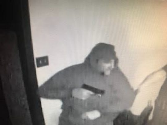 Franklin Township Police are asking for assistance to track down two armed suspects in a March 16, 2019 home invasion in the 3500 block of North Bluebell Road. Pictured is one of the suspects, police said.