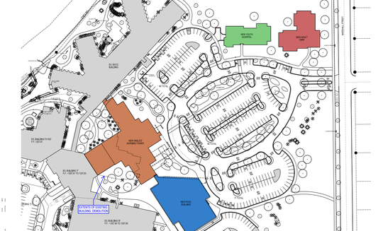 The general plans for renovation on the North Central Health Care campus include a new youth hospital and a new adult home, both for mental illness treatment. Neighbors have raised concerns that the location of the youth hospital and adult home (shown here in green and red) is too close to the street level and will pose a possible risk for the neighborhood. These plans do not show the 180-foot move proposed Thursday night at the Marathon County Board meeting.