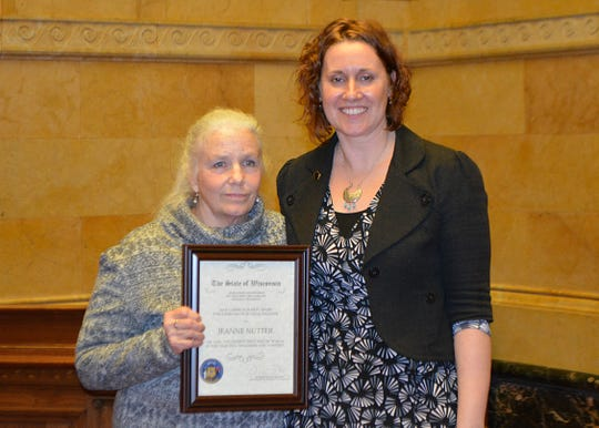 Jeanne Nutter, left, was recognized Thursday for her role in helping Jayme Closs safely reunite with her family and her lifetime of social work.