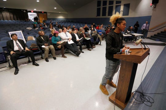 Jaylen Persaud, 17, a student at Gorton High School, speaks in opposition to the creation of the proposed CAST charter school during a public meeting of the Yonkers Board of Education March 20, 2019. The board held a public meeting to get public feedback on the proposed charter school. The majority of speakers spoke in opposition to the creation of the school.
