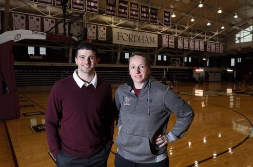 Fordham University men's basketball assistant coach Mike DePaoli and women's basketball associate head coach Angelika Szumilo at Rose Hill Gym in the Bronx, March 21, 2019, where the Federation Tournament of Champions will take place next year. With support of the administration and athletic department, DePaoli, a North Salem grad, was integral in bringing the Federation Tournament of Champions to Fordham.