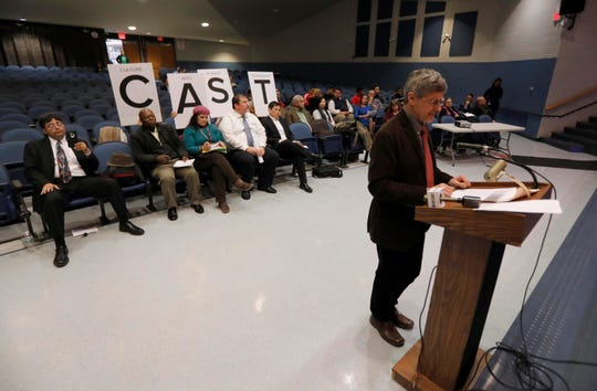 Jerzy Lesniak, founder of the proposed CAST charter school, addresses the Yonkers Board of Education March 20, 2019. The board held a public meeting to get public feedback on the proposed charter school. The majority of speakers spoke in opposition to the creation of the school.