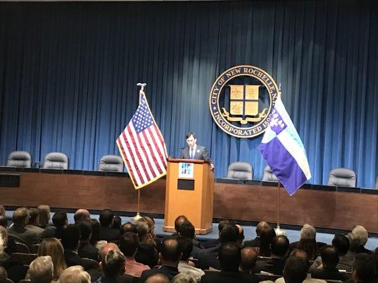 New Rochelle Mayor Noam Bramson speaks during his 2019 State of the City address.