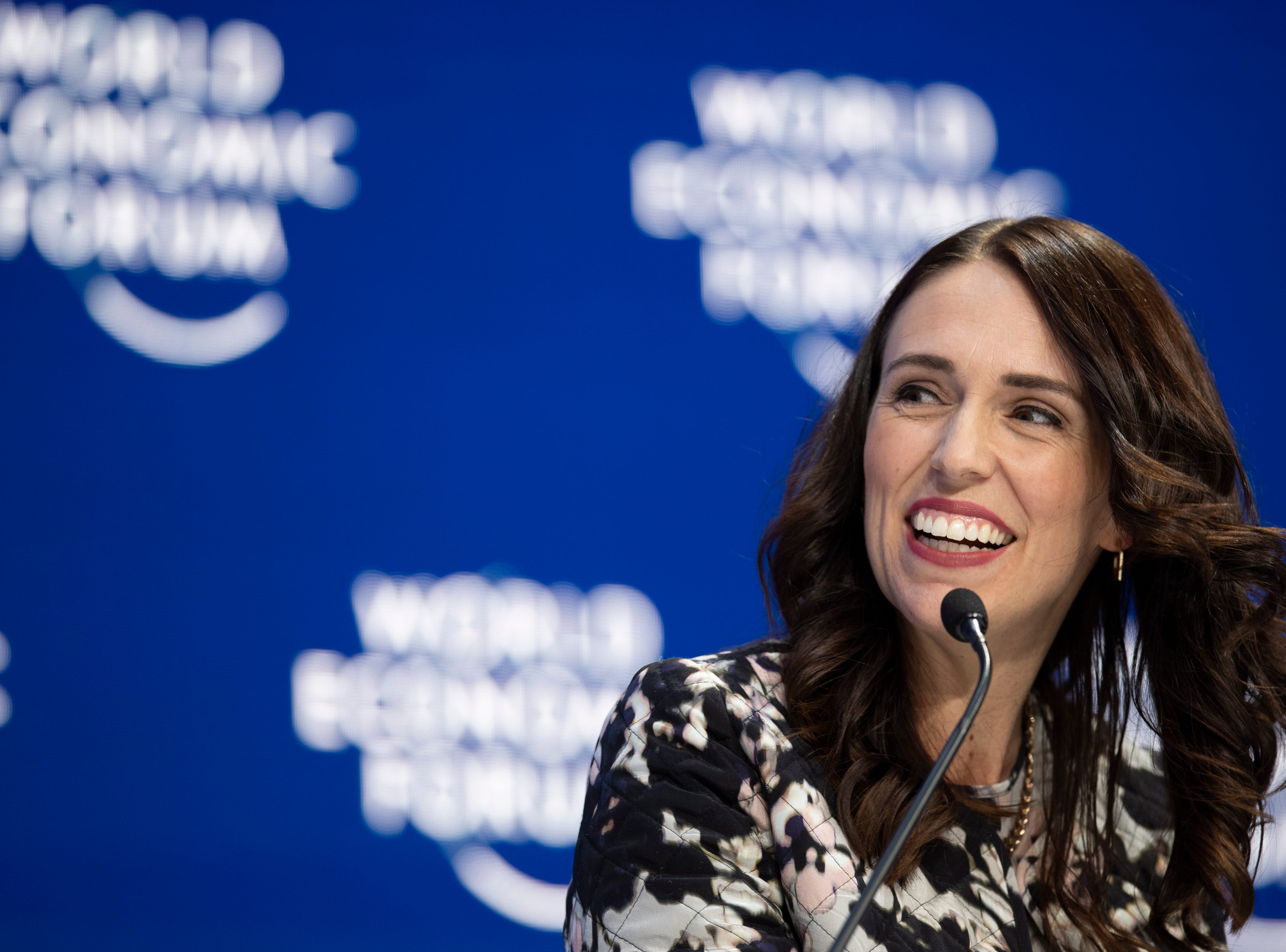 Jacinda Ardern, Prime Minister of New Zealand, during a plenary session in the Congress Hall of the 49th annual meeting of the World Economic Forum, WEF, in Davos, Switzerland on Jan. 22, 2019. The meeting brings together entrepreneurs, scientists, corporate and political leaders in Davos.
