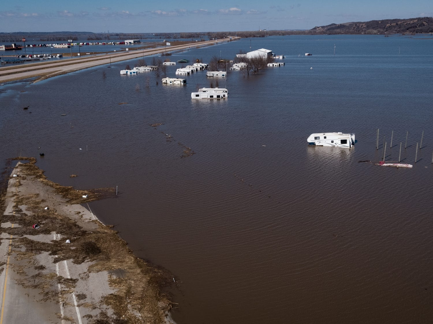 The I-29 Hwy 34 Campground is swamped with water leaving RV's stranded on March 20, 2019, in Mills County, Iowa.
