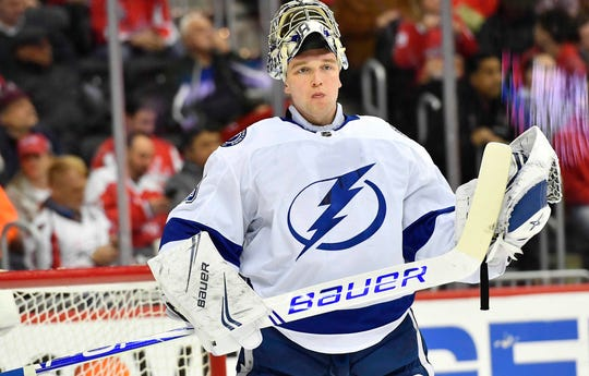 b0aed6aa37c Tampa Bay Lightning goaltender Andrei Vasilevskiy made 54 saves to beat the  Washington Capitals 5-