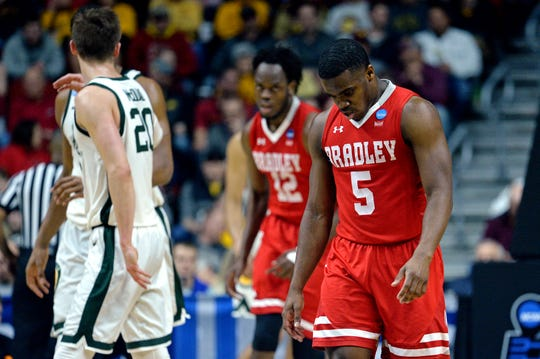 Bradley Braves guard Darrell Brown (5) reacts during the second half against the Michigan State Spartans.