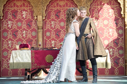 "Natalie Dormer as Margarey Tyrell and Jack Gleeson as Joffrey Baratheon in ""The Lion and the Rose"" episode of ""Game of Thrones."""