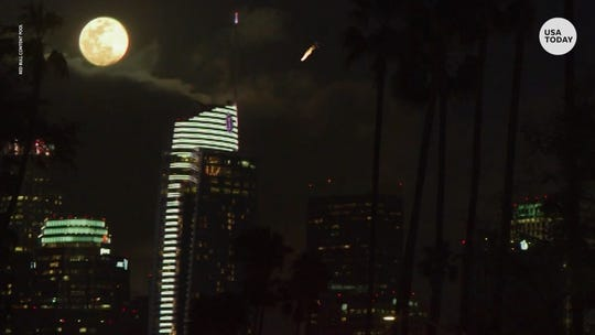 Was that a meteor over Los Angeles? A UFO? Nope. A supermoon stunt from Red Bull lit up the sky