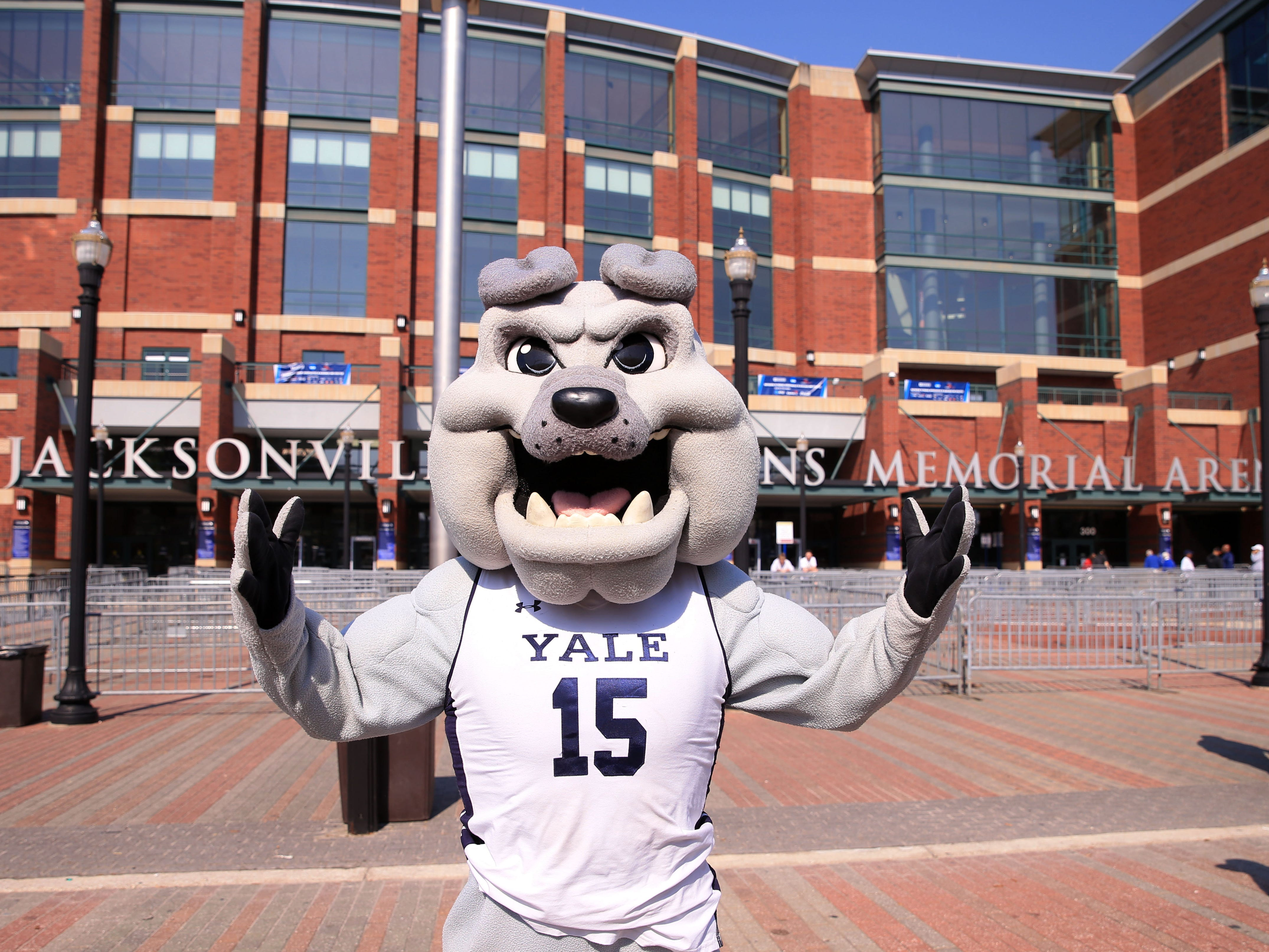 First round: The Yale Bulldogs mascot poses before the game against the LSU Tigers.