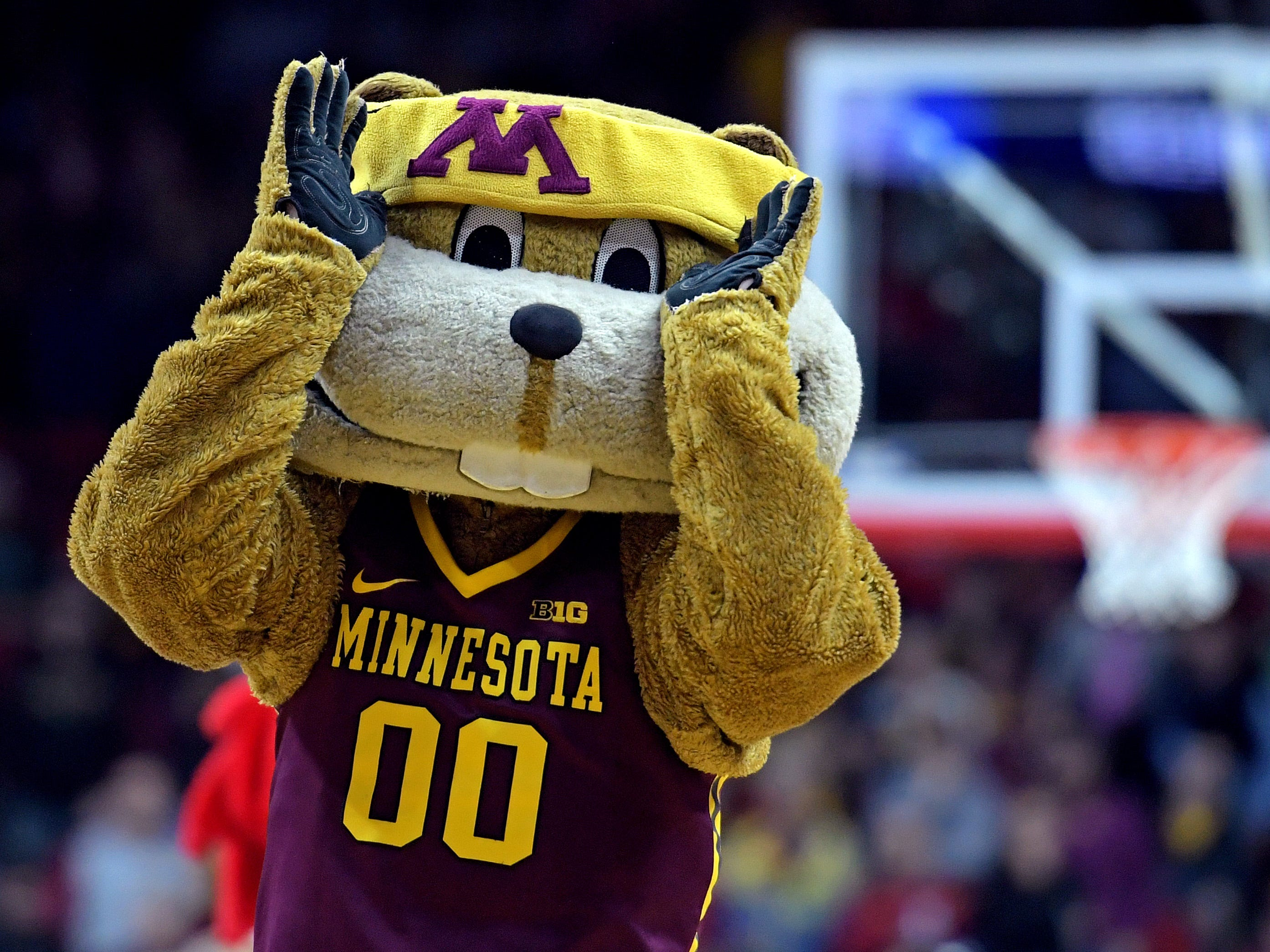 First round: The Minnesota Golden Gophers mascot on the court before the game against the Louisville Cardinals.