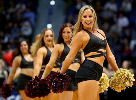 First round: The Florida State Seminoles cheer squad performs during the game against the Vermont Catamounts.
