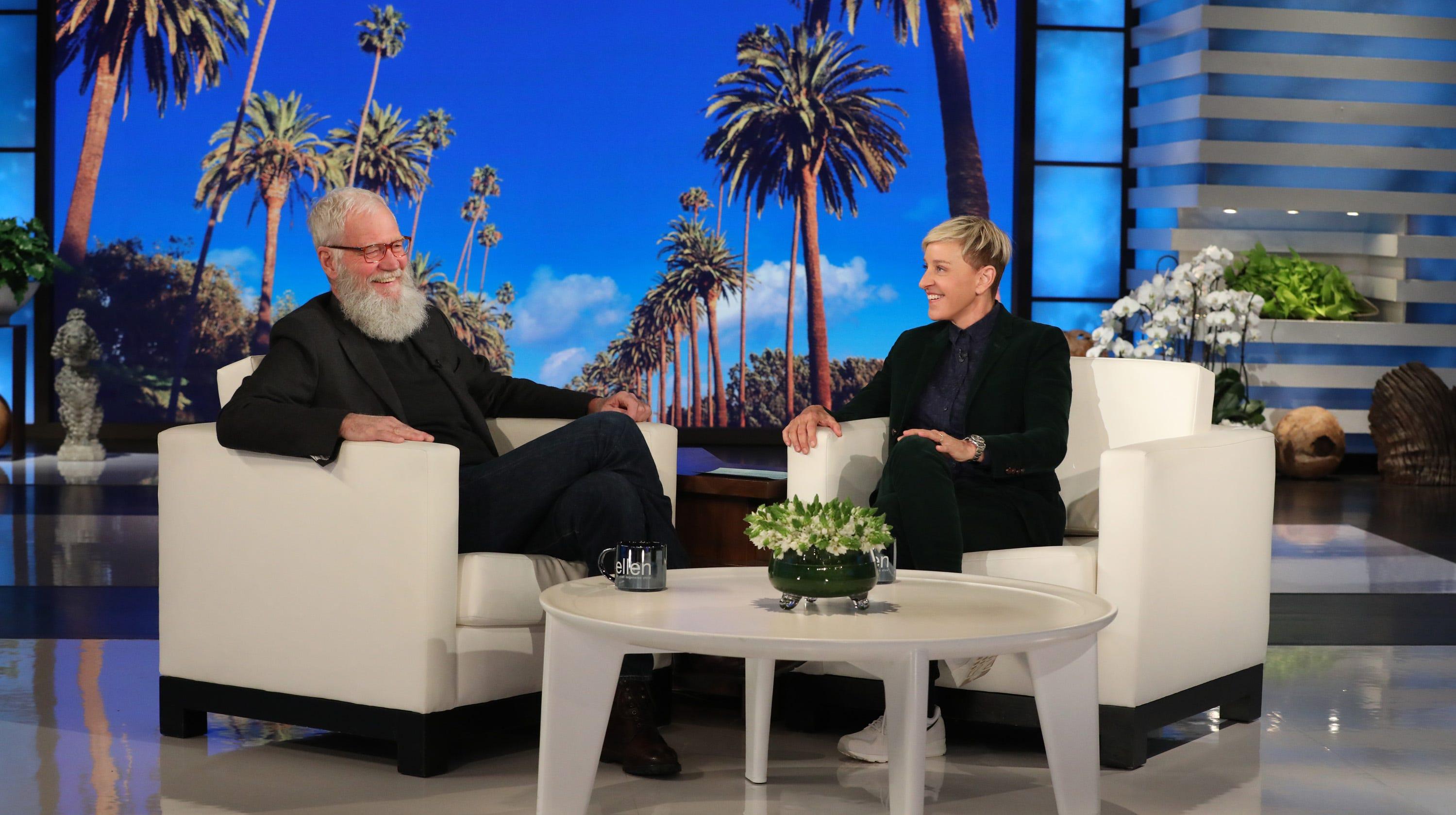 """David Letterman appears on """"The Ellen DeGeneres Show"""" Thursday."""